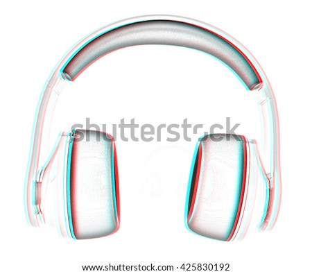 3d illustration of blue headphones on white background. This is the best detail renderer . Pencil drawing. 3D illustration. Anaglyph. View with red/cyan glasses to see in 3D.