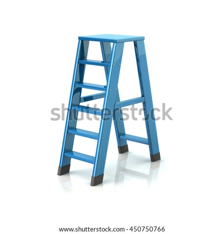 3d illustration of blue ladder isolated on white background