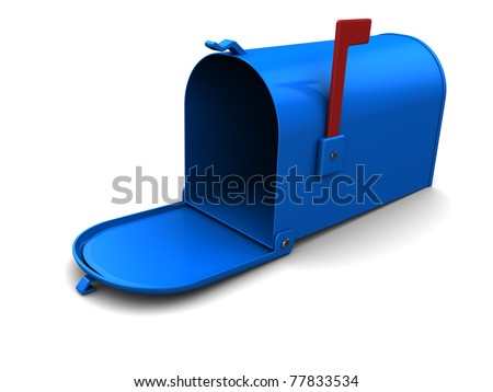 3d illustration of blue mailbox over white background - stock photo