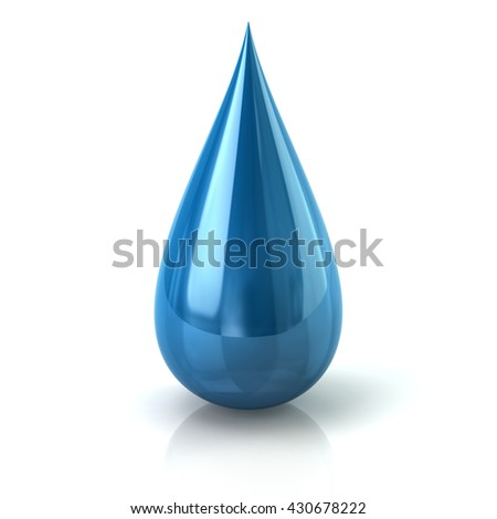 3d illustration of blue paint ink drop icon isolated on white background