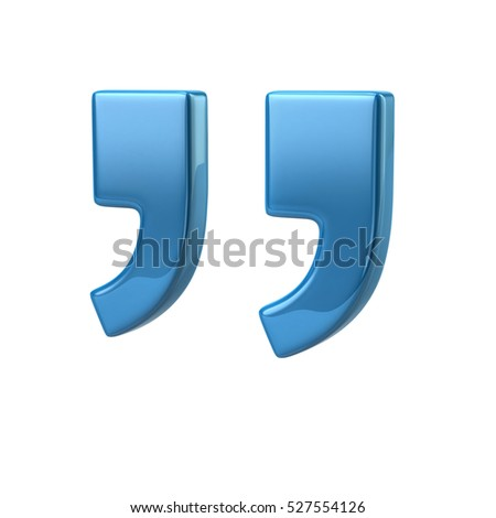 3d illustration of blue quote marks isolated on white background
