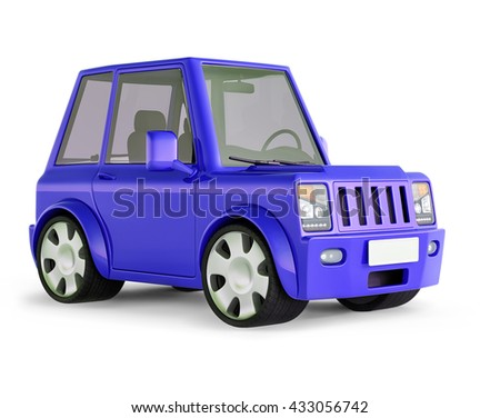 3D illustration of blue  SUV cartoon car views front perspective