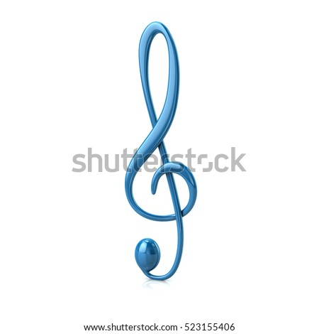 3d illustration of blue treble clef isolated on white background
