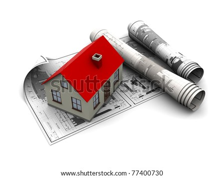 3d illustration of blueprints and house model, over white background - stock photo