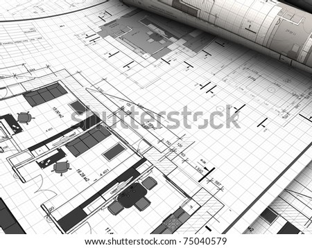 3d illustration of blueprints background