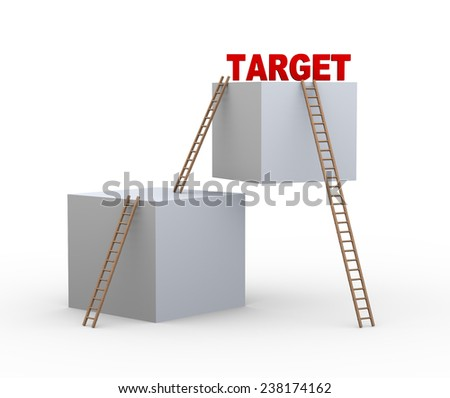 3d illustration of boxes and ladders with word target. Concept of achieveing target faster with shortcut. - stock photo