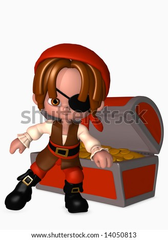3d illustration of boy dressed up as a happy little pirate guarding an open treasure chest