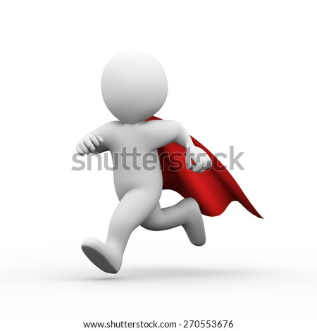 3d illustration of brave super hero with red cloak running for help and support.  3d rendering of white man person people character - stock photo