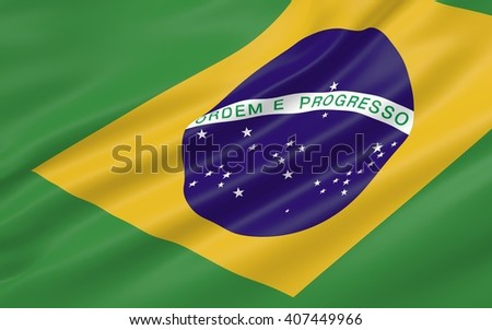 3D illustration of Brazil flag