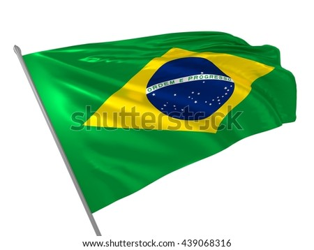 3d illustration of Brazil flag waving in the wind