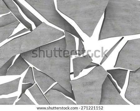 3d illustration of breaking concrete over white background - stock photo
