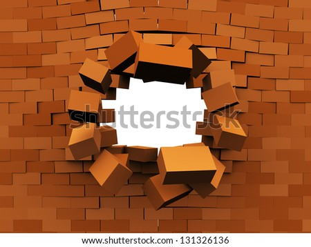 3d illustration of brick wall demolition, over white background - stock photo