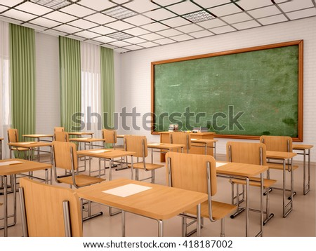 3d illustration of bright empty classroom for lessons and training - stock photo