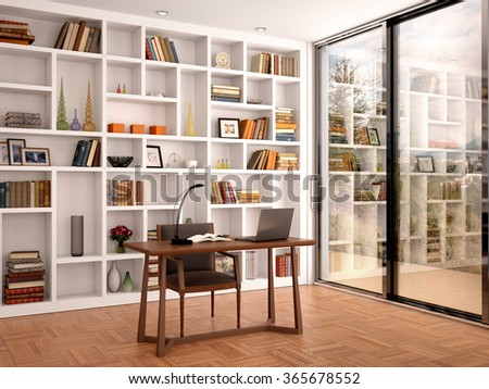 3d illustration of bright interior library office with white shelves and a large window - stock photo