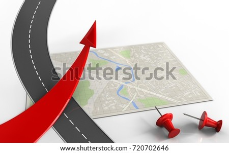 3d illustration of bright map with red arrow and red pins