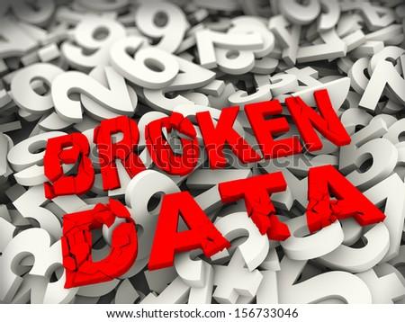 3d illustration of broken data over heap of numeric numbers. Concept of data read error, corrupt files, stolen data etc.  - stock photo