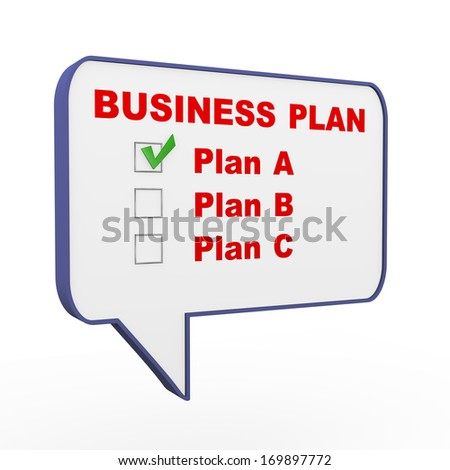 3d illustration of bubble speech with various business plan option and choices - stock photo