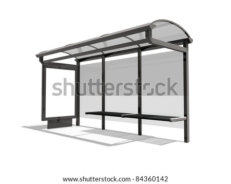 3d illustration of Bus stop on the white background - stock photo