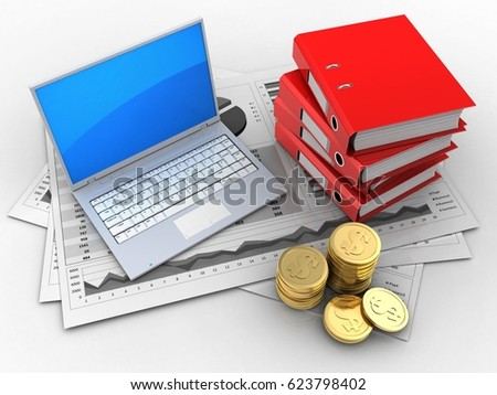 3d illustration of business charts and computer over white background with binder folders