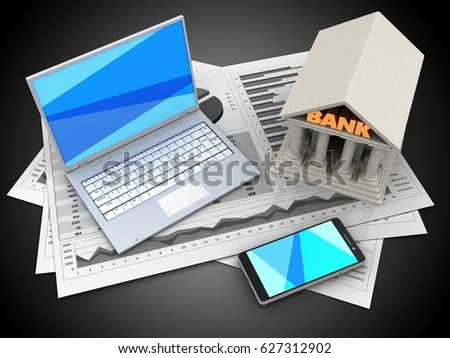 3d illustration of business charts and white laptop over black background with bank