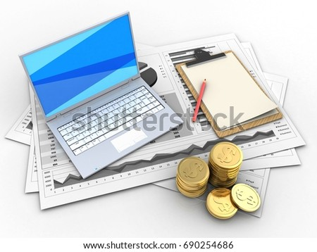 3d illustration of business charts and white laptop over white background with note