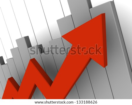 3d illustration of business graph with big red arrow - stock photo