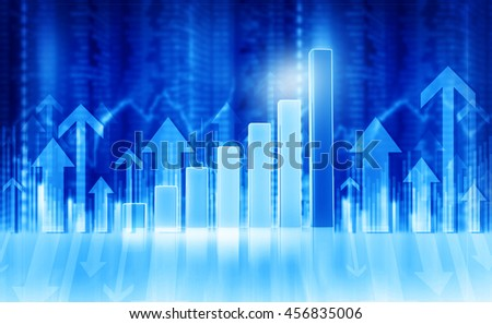 3d illustration of Business graphs and diagrams showing growth.  Business background image	 - stock photo