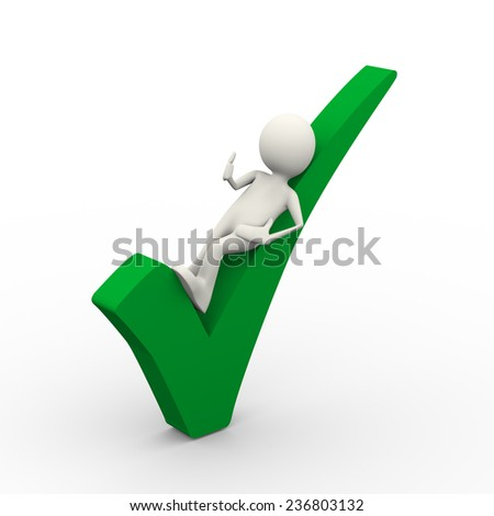 3d illustration of business man lying on green tick check mark showing thumb up. 3d human person character and white people