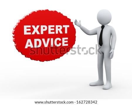 3d Illustration of business man offering expert advice. 3d rendering of human people character. - stock photo
