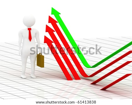 3d illustration of business man showing the way of success - stock photo