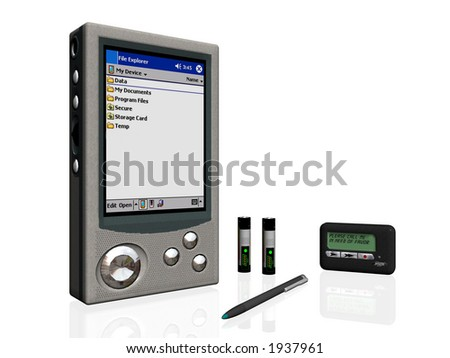 3D illustration of business objects, pda, pager, batteries pen.Clipping path. Business, communication concept.