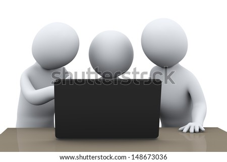 3d illustration of business people working together with laptop. 3d rendering of human busienss people character.