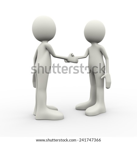 3d illustration of business person shaking hands. 3d human person character and white people - stock photo