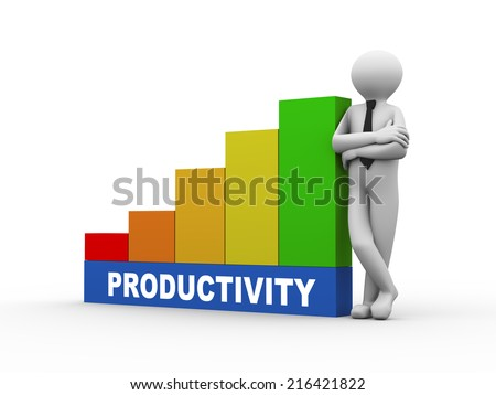3d illustration of business person with productivity progress growth rising bars. 3d human person character and white people - stock photo