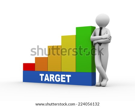 3d illustration of business person with target progress growth rising bars. 3d human person character and white peopl - stock photo