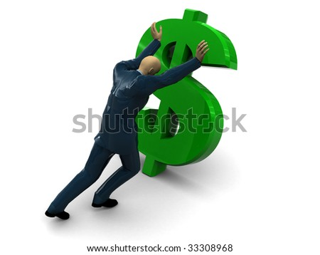 3d illustration of businessman and dollar sign, over white background - stock photo