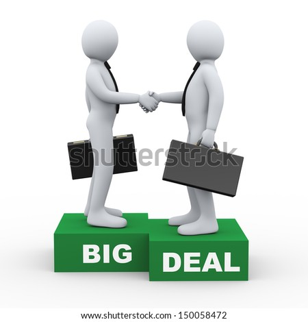 3d Illustration of businessman shaking hands with his business partner after big deal agreement. 3d rendering of human businessman character