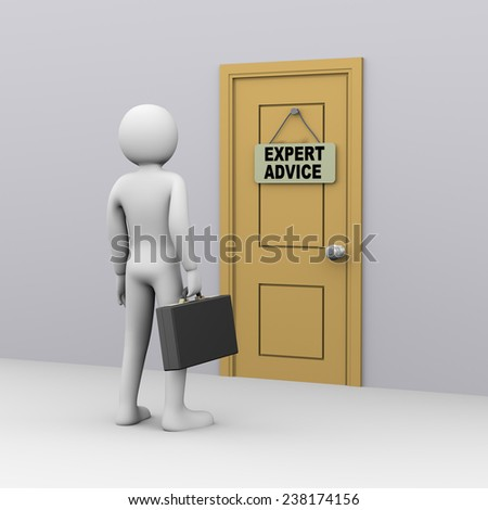 3d illustration of businessman with briefcase in front of door with expert advice tag. 3d rendering of people - human character.