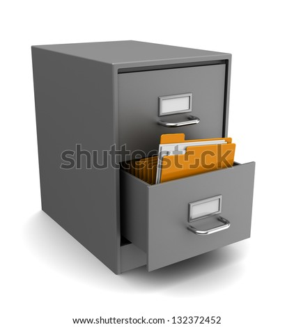 3d illustration of cabinet with folders over white background - stock photo