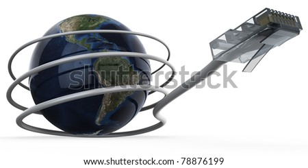3d illustration of cable connected World - stock photo