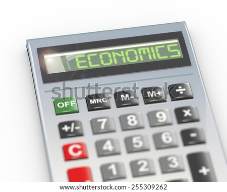 3d illustration of calculator with digital text word economics on lcd display - stock photo