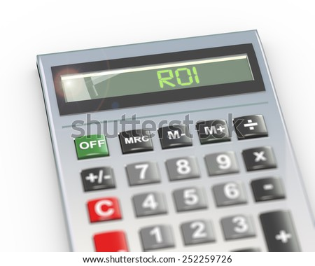 3d illustration of calculator with digital text word roi - return on investment on lcd display - stock photo