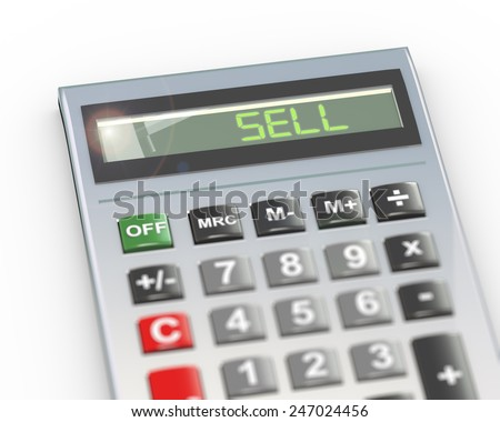 3d illustration of calculator with digital text word sell on lcd display - stock photo