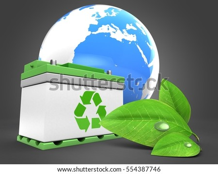 3d illustration of car battery over gray background with earth and green leaf