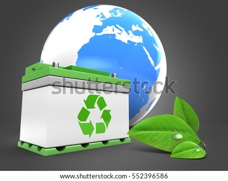 3d illustration of car battery over gray background with earth and leaf