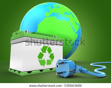 3d illustration of car battery over green background with earth globe and power cable