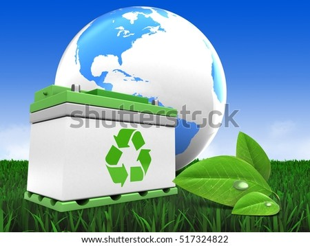3d illustration of car battery over meadow background with world globe and leaf