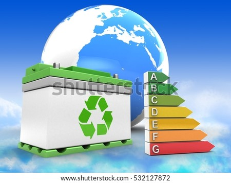 3d illustration of car battery over sky background with earth and efficient ranks
