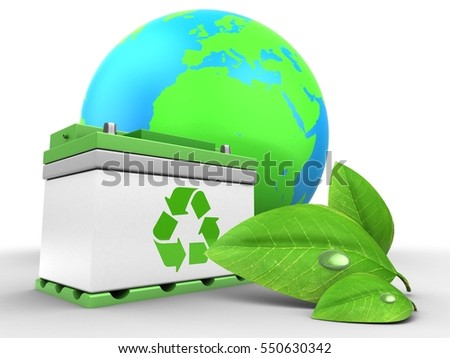 3d illustration of car battery over white background with earth globe and green leaf