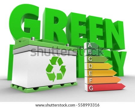 3d illustration of car battery over white background with energy and efficient ranks